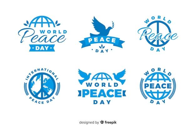 Kolekcja odznaka dzień pokoju płaska konstrukcja