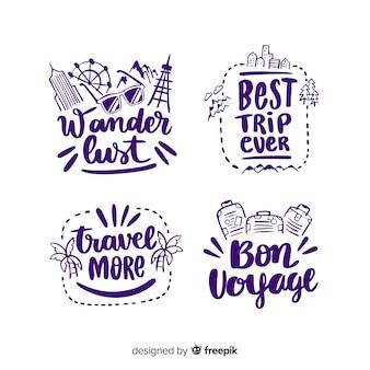 Kolekcja odznaka kaligraficzna podróży