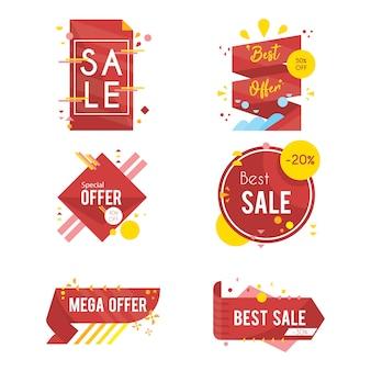 Kolekcja odznaka oferta nowoczesnych sprzedaży w stylu płaski