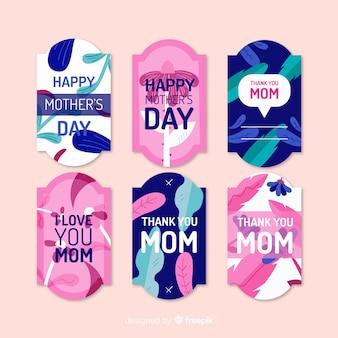 Kolekcja odznaka płaski dzień matki