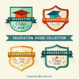 Kolekcja odznaka ukończenia szkoły z płaska konstrukcja