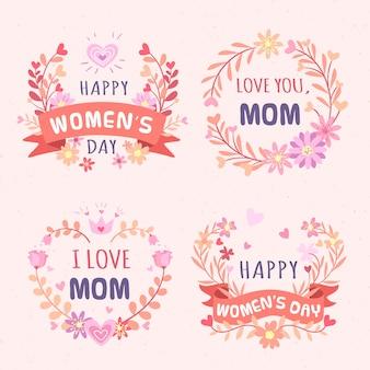 Kolekcja odznaki kwiatowy kobieta dzień