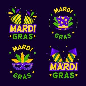 Kolekcja odznaki mardi gras