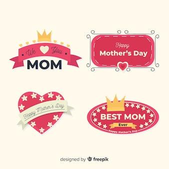 Kolekcja odznaki płaskie matki dzień