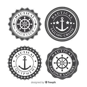 Kolekcja odznaki płaskie morskie