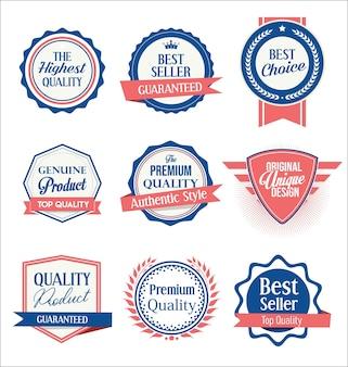 Kolekcja odznaki tarcze i etykiety w stylu retro