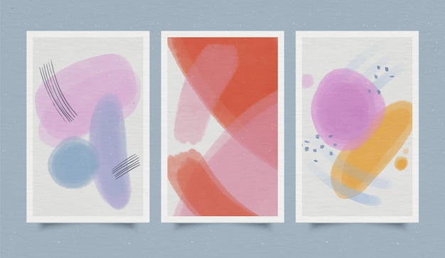 Kolekcja okładek abstrakcyjne kształty akwarela