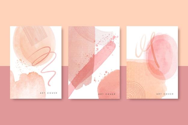 Kolekcja okładek akwarelowych abstrakcyjnych kształtów