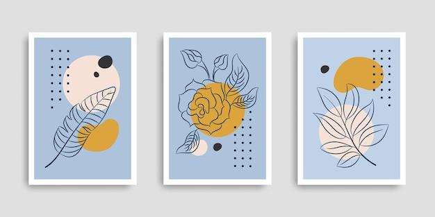 Kolekcja okładek botanicznych w ręcznie rysowanym stylu
