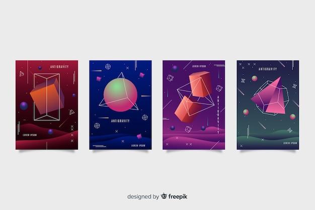 Kolekcja okładek geometrycznych kształtów antygrawitacyjnych