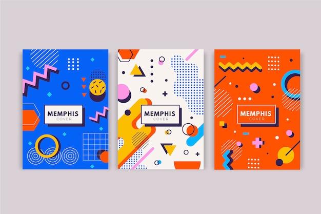 Kolekcja okładek geometrycznych kształtów memphis