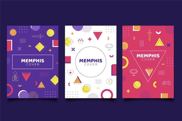 Kolekcja okładek geometrycznych memphis