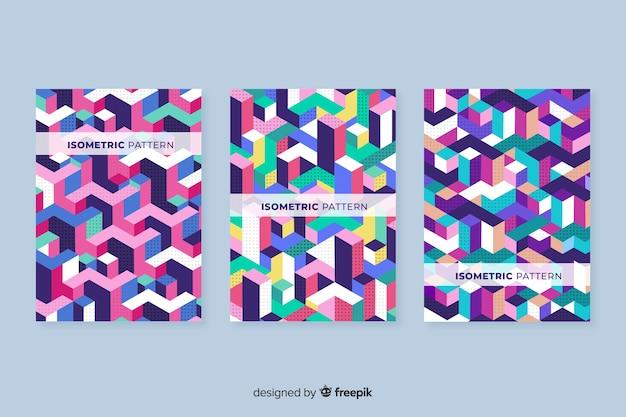 Kolekcja okładek izometryczny wzór geometryczny