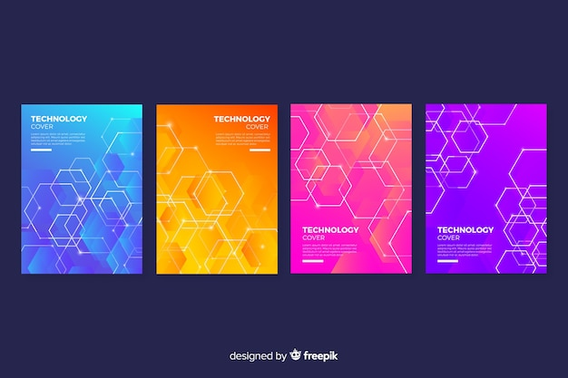 Kolekcja okładek kolorowych technologii gradientowych