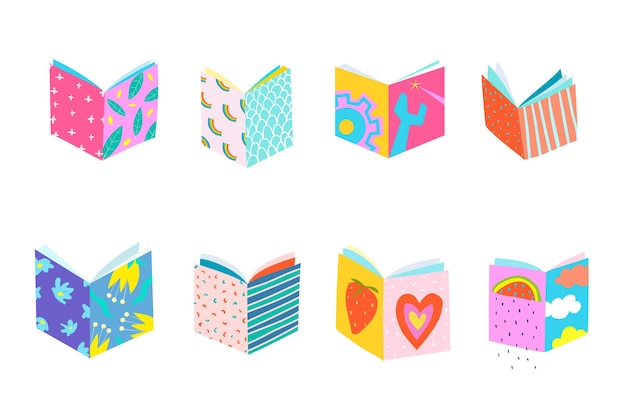 Kolekcja okładek książek, geometryczne obiekty wycięte z papieru