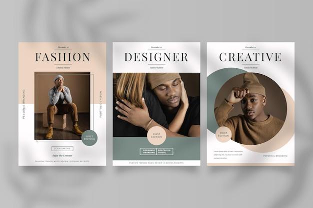 Kolekcja Okładek Magazynu Ze Zdjęciem Premium Wektorów