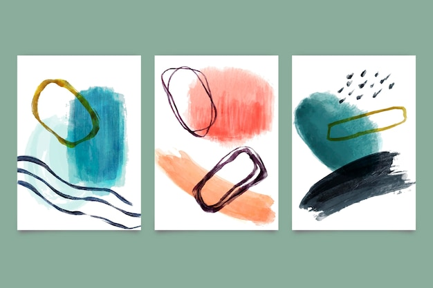 Kolekcja okładek o abstrakcyjnych kształtach