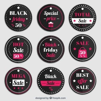 Kolekcja okrągłe etykiety na czarny piątek