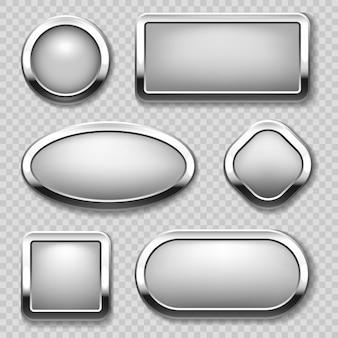 Kolekcja okrągłych chromowanych przycisków na przezroczystym tle