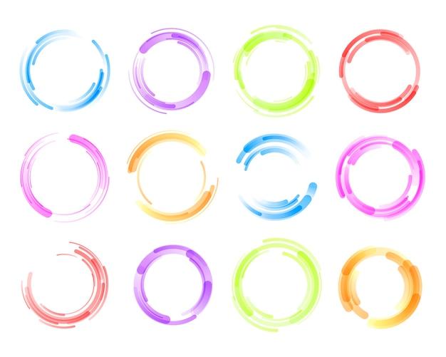 Kolekcja okrągłych kolorowych linii