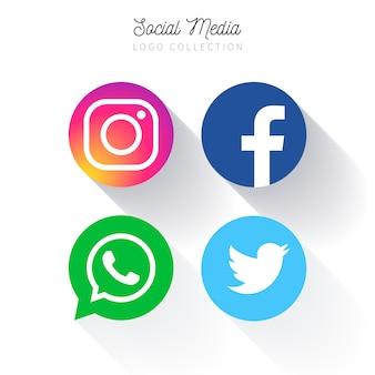Kolekcja okrągłych logo popularnych mediów społecznościowych