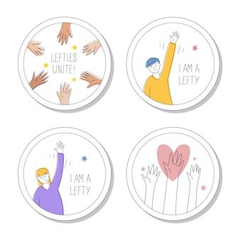 Kolekcja okrągłych szpilek lub naklejek dla leworęcznych. 13 sierpnia, międzynarodowy dzień lefthandersa. lewacy łączą się,