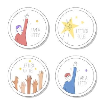 Kolekcja okrągłych szpilek lub naklejek dla leworęcznych. 13 sierpnia, międzynarodowy dzień lefthandersa. lewicowcy jednoczą się, rządzą, jestem dumny z tego, że jestem lewicą. ilustracja, nowoczesny styl linii