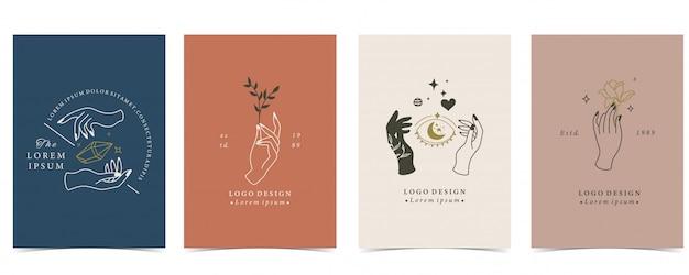 Kolekcja okultystycznego tła z ręki, planety, serca i księżyca.