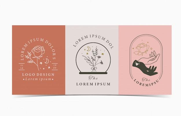 Kolekcja okultystycznego zestawu z logo dłoni, róży, księżyca.