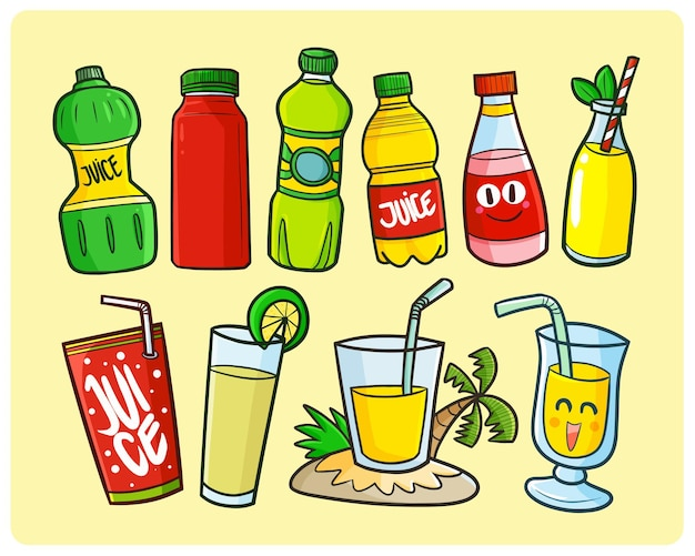 Kolekcja opakowań zabawnych soków w prostym stylu doodle