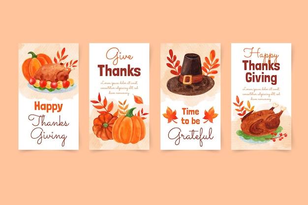Kolekcja opowiadań akwarelowych na instagramie dziękczynienia