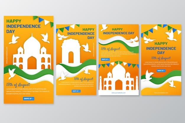 Kolekcja opowiadań instagramowych w stylu papierowym w dniu niepodległości w indiach