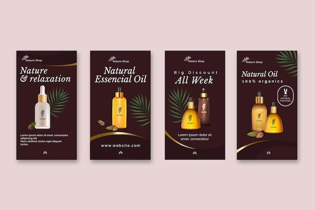 Kolekcja opowiadań kosmetycznych na temat olejków kosmetycznych na instagramie