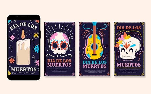 Kolekcja Opowiadań Na Instagramie Dia De Muertos Darmowych Wektorów