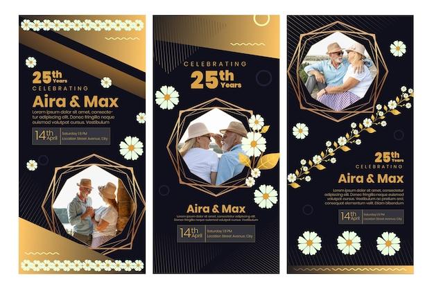 Kolekcja opowiadań na instagramie na 25-lecie z kwiatami