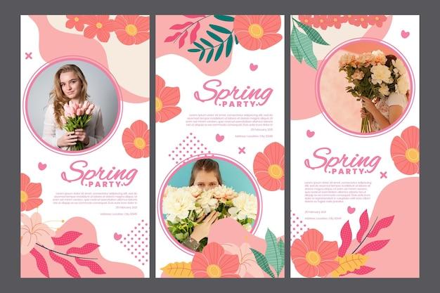 Kolekcja opowiadań na instagramie na wiosenne przyjęcie z kobietą i kwiatami