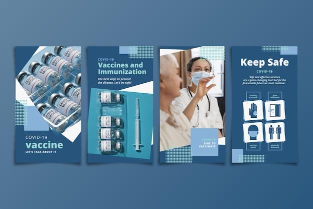Kolekcja opowiadań na instagramie o płaskich szczepionkach ze zdjęciami