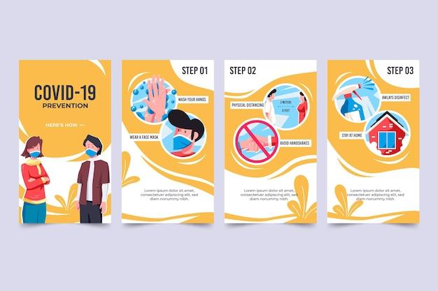 Kolekcja opowiadań na instagramie o zapobieganiu koronawirusom