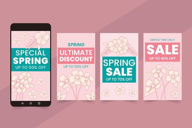 Kolekcja opowiadań na instagramie płaskiej wiosennej sprzedaży