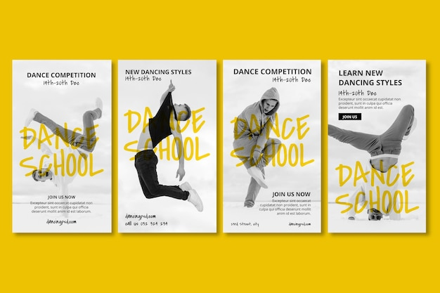 Kolekcja opowiadań na instagramie szkoły tańca z męskim tancerzem