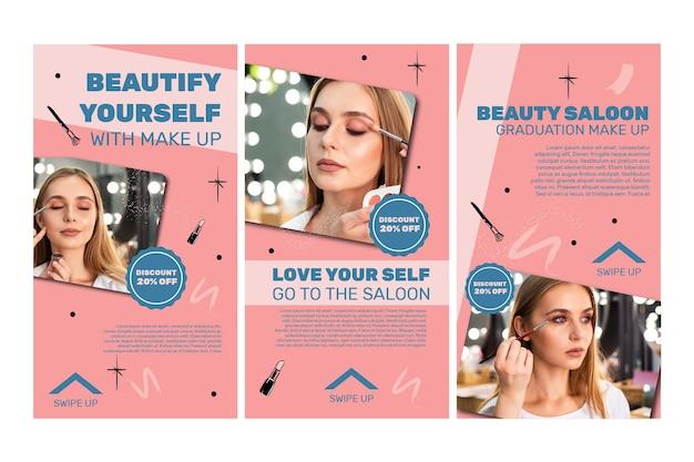 Kolekcja opowiadań na instagramie w salonie piękności
