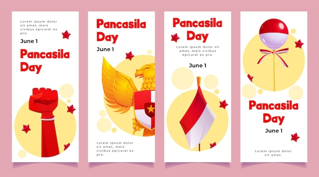 Kolekcja opowiadań na instagramie z kreskówek pancasila day