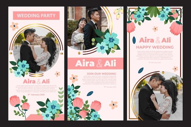 Kolekcja opowiadań na instagramie z kwiatowym ślubem