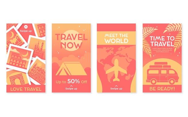 Kolekcja opowiadań na instagramie z płaską podróżą