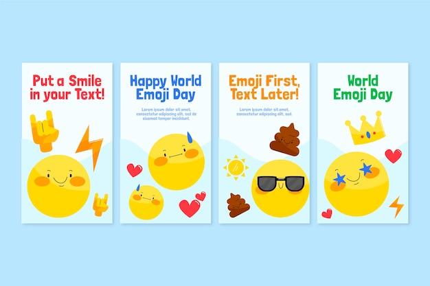 Kolekcja opowiadań na instagramie z płaskim światowym dniem emoji