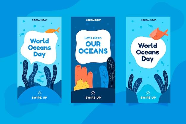 Kolekcja opowiadań na instagramie z płaskim światowym dniem oceanów