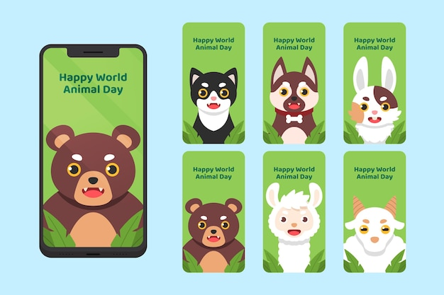 Kolekcja opowiadań na instagramie z płaskim światowym dniem zwierząt