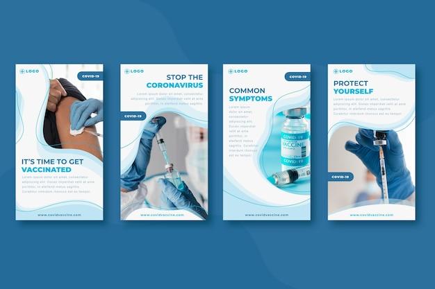 Kolekcja opowiadań na instagramie ze zdjęciami płaskich szczepionek