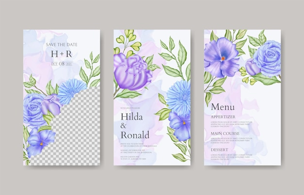 Kolekcja opowiadań o kwiatach na instagramie do szablonu zaproszenia na ślub