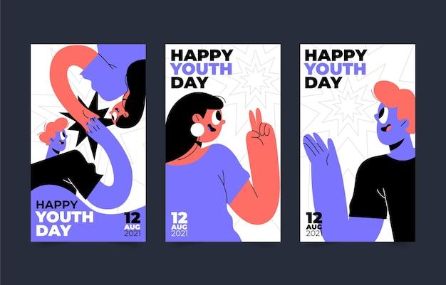 Kolekcja opowiadań o międzynarodowym dniu młodzieży na instagramie